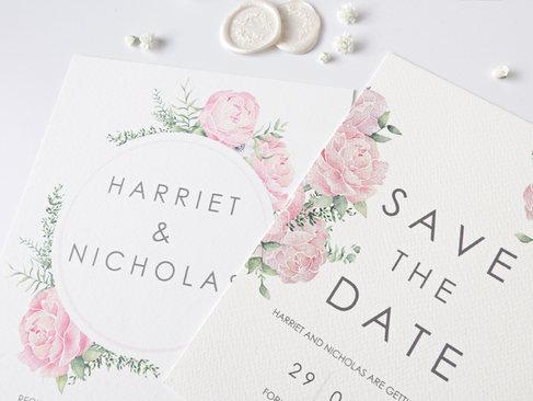 peony watercolour wedding invitation sav