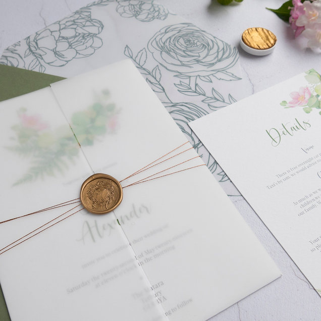 Fern invitation with vellum wrap and wax seal