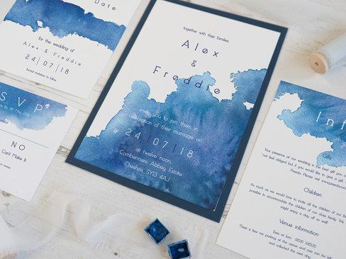 blue watercolour wedding invitationsuite