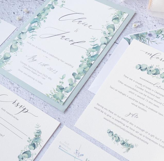 eucalyptus leaves watercolour wedding in