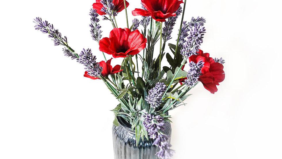 Wild Poppy in Large Ribbed Jar