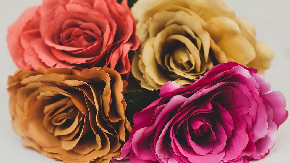 Short stem Silk Tudor Rose 3 for £12