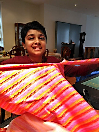 Cutting strips to make ties