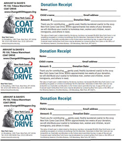 Coat drive worksheet receipt