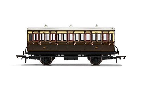 R40112A GWR 4 Wheel Coach 3rd Class Fitted Lights 1882 - Era 2/3