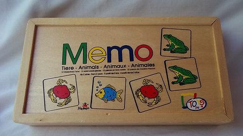 Wooden 32 solid pieces -Memo Animals