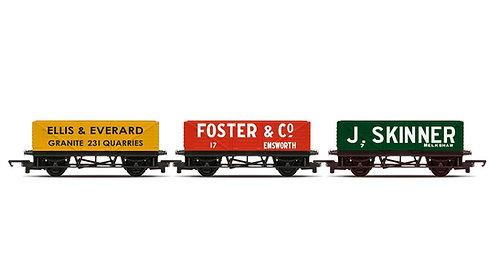 R6930 RailRoad, Open Wagons, Three Pack, Various - Era 2/3