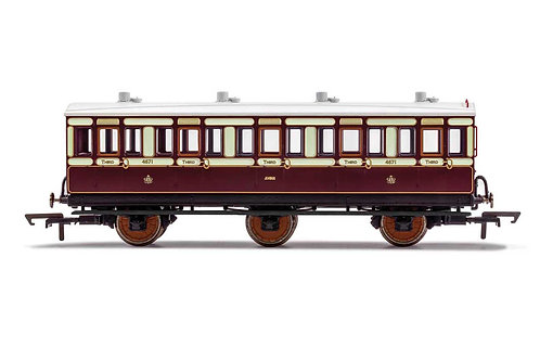 R40120A LNWR 6 Wheel Coach 3rd Class Fitted Lights 4671-Era 2