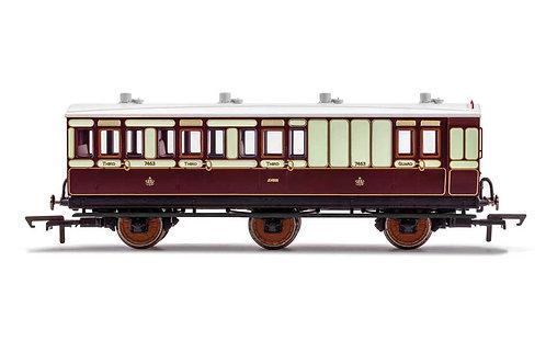 R40122 LNWR 6 Wheel Coach Brake 3rd Class Fitted Lights 7463-Era 2