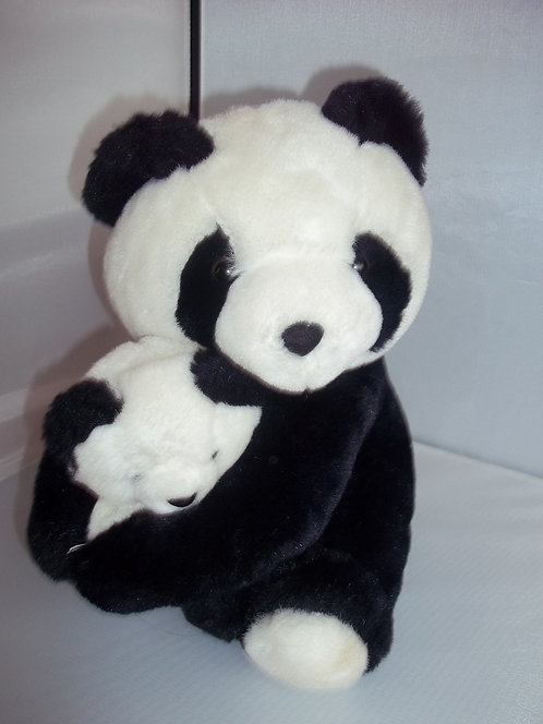 WWF Rare Collectable Mommy Panda Holding Cub Soft Plush Cuddly Toy