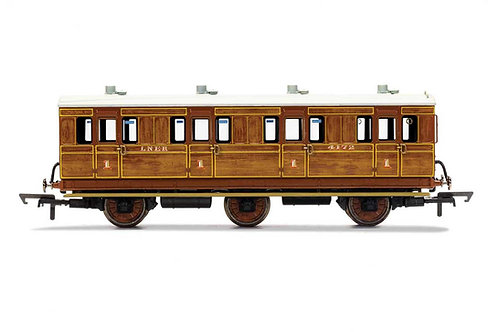 R40127 LNER 1st Class 4 Door 6 wheel coach Oil lamps step boards 4172-W / Lights