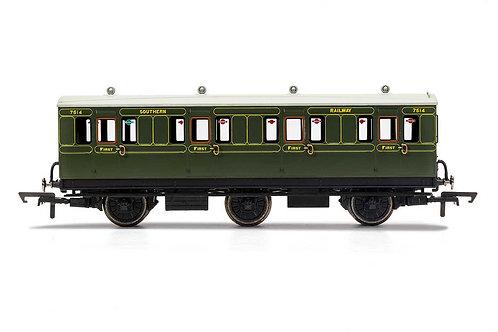 R40085 SR 1st Class 4 Door 6 wheel coach Electric lights+step boards 7514