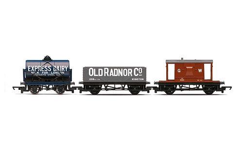 R60047 Triple Wagon Pack Mixed Wagons with Brake Van - Era 3