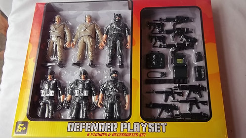 6 Figure 11.5cm Soldiers & Accessory Playset 5+
