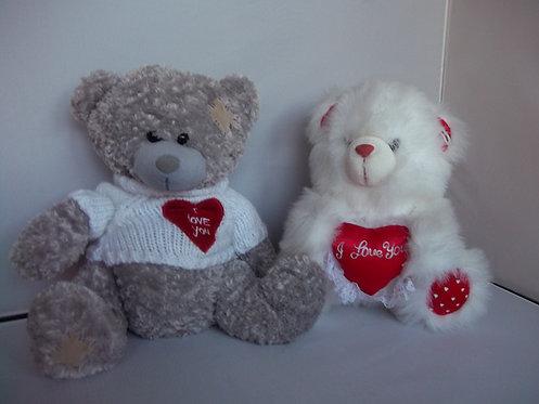 "2 x  ""I LOVE YOU"" Vintage Plush Soft Cuddly Teddy Bears Xmas"