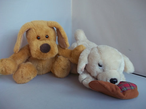 2 FOR 1 - TWO SOFT PLUSH CUDDLY TOY PUPPY DOGS
