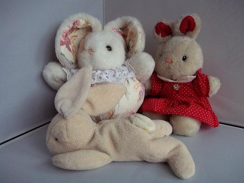 Job Lot/Bundle 3 x Bunny Rabbits Soft Cuddly Plush Vintage