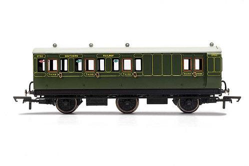 R40087 SR Brake 3rd Class 6 wheel coach Electric lights+step boards 3750