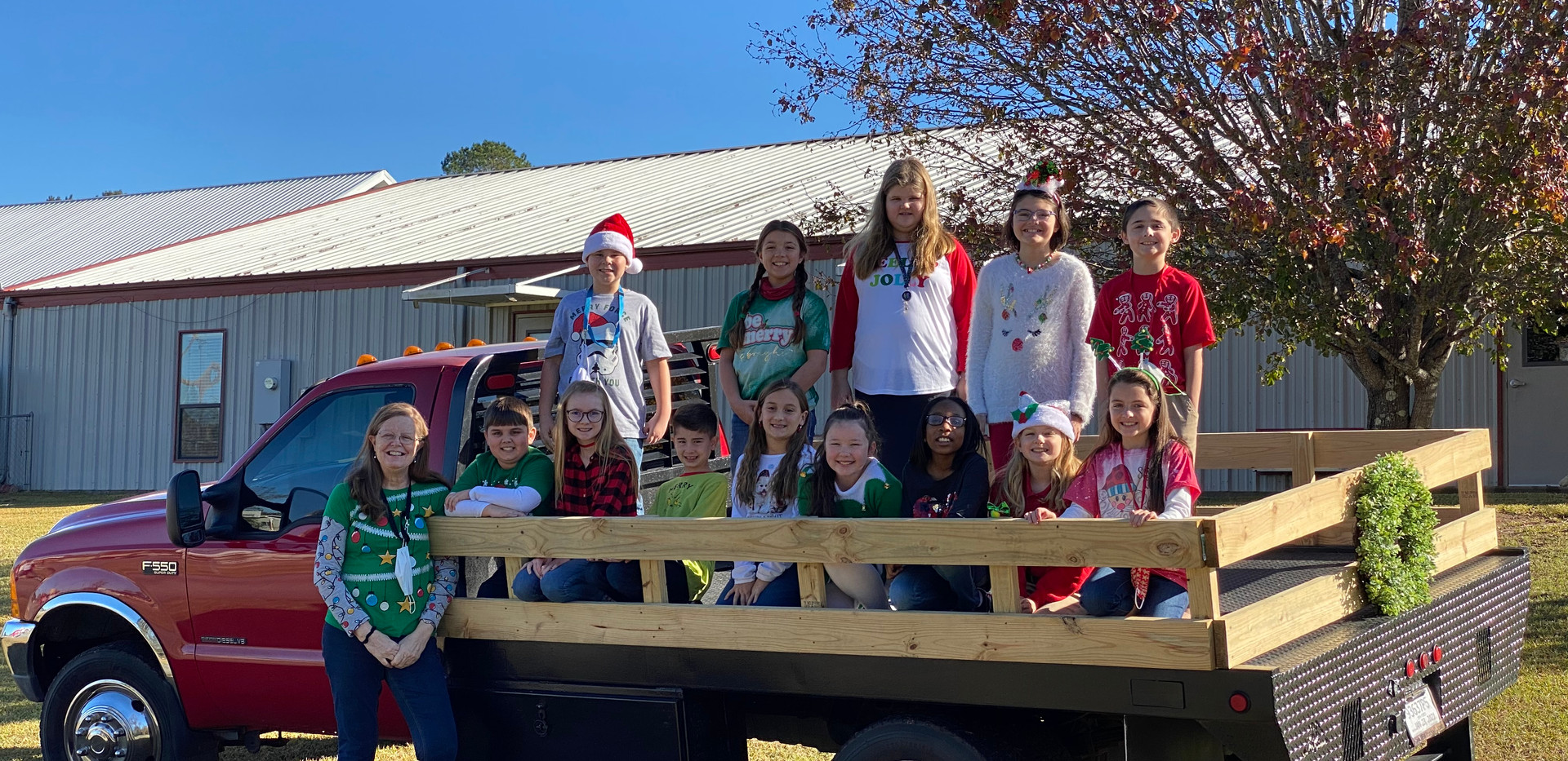 Ms. Deyoung's class at Christmastime.
