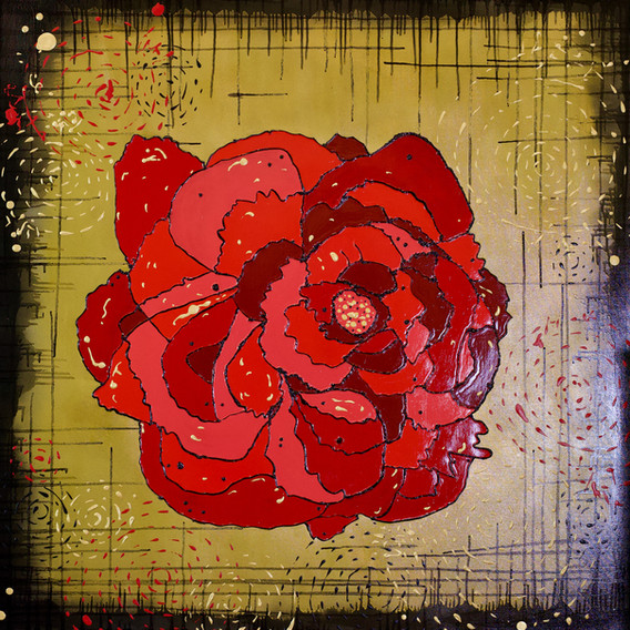 Gold Red Flower