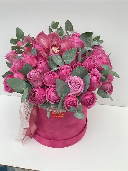 Пионовидные розы+орхидеи