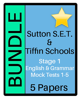 S.E.T. & Tiffin Stage 1 English & Grammar  - 5 Paper Bundle