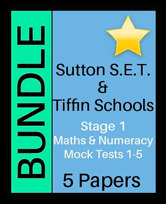 Sutton S.E.T. & Tiffin Schools Stage 1 Maths & Numeracy - 5 Paper Bundle
