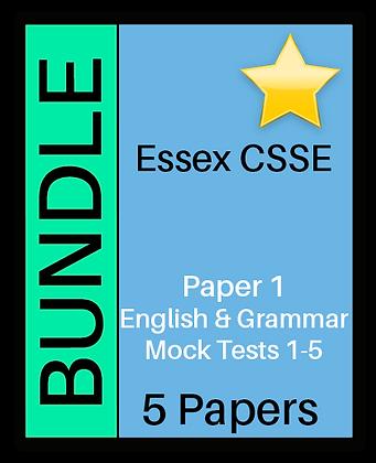 Essex CSSE Paper 1, English & Grammar - 5 Paper Bundle