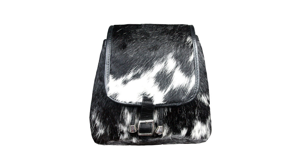 BLACK AND WHITE COW HIDE RUCKSACK