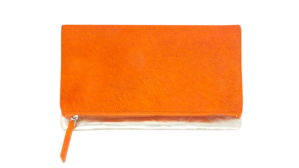 ORANGE FOLDED CLUTCH BAG