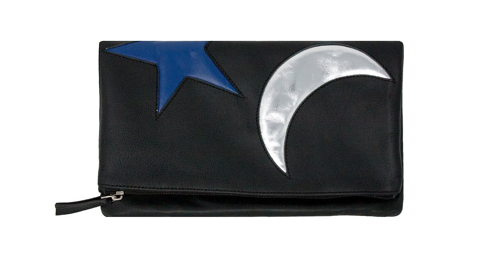 MOON AND STAR FOLDED CLUTCH BAG