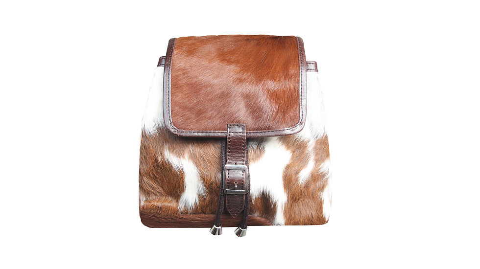 BROWN AND WHITE COW HIDE RUCKSACK