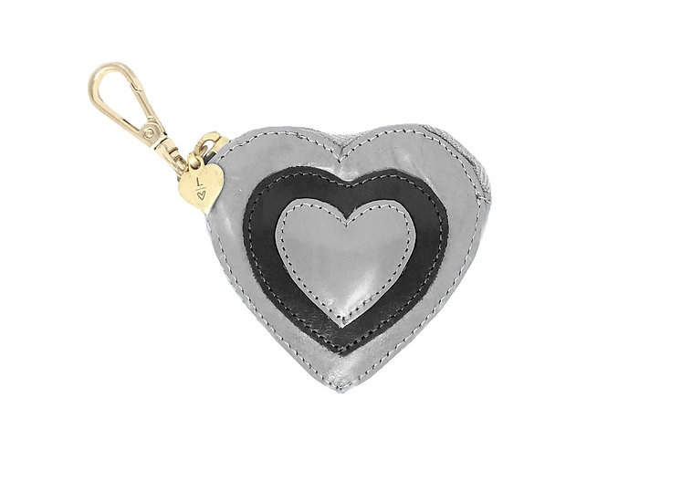 BLACK AND SILVER COIN PURSE