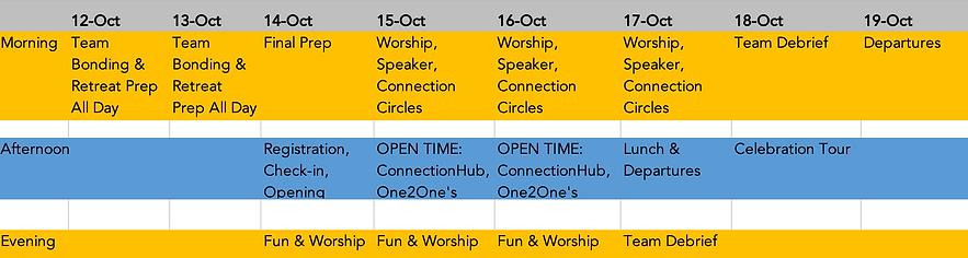Haven Retreat Schedule VOLUNTEERS (CYPRU