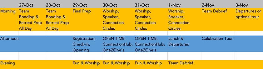Haven Retreat Schedule VOLUNTEERS (ISRAE