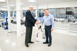 1. (L_R) William Hewland, Mark Lyon at Hewland's in-house engineering facility
