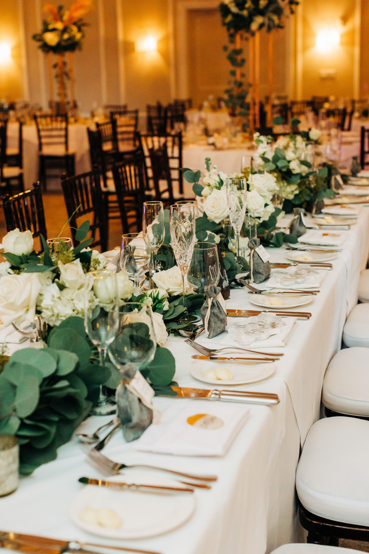 Boho Chic or Elegant Head Table with Green Garland and White Flowers