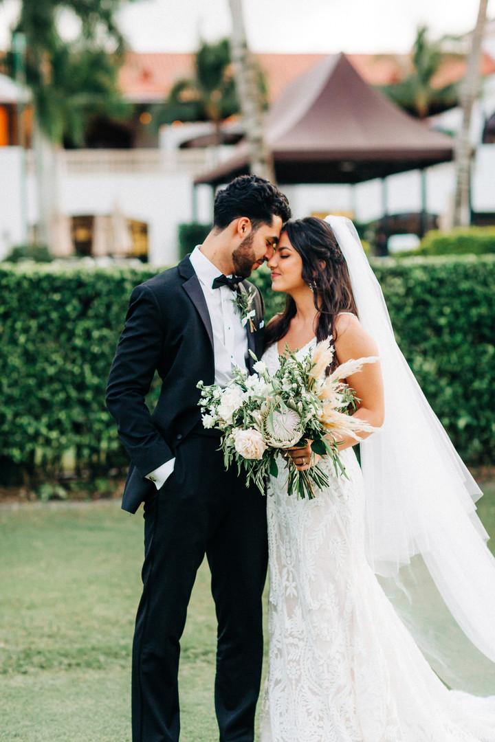 Boho Chic Wedding Bouquet with Pampas Grass