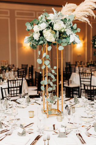 Boho Chic Tall Centerpiece with Pampas Grass on Floral Stand