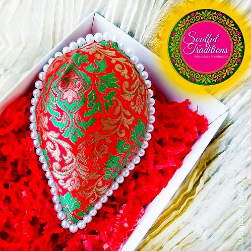 Red and Greenk Brocade Nariyal with Pearl Beading