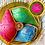 Thumbnail: Blue Brocade Silk Nariyal with Gold Beading