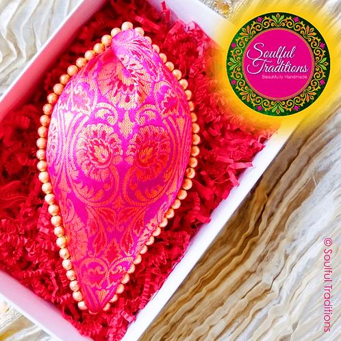 Pink Brocade Silk Nariyal with Gold Beading