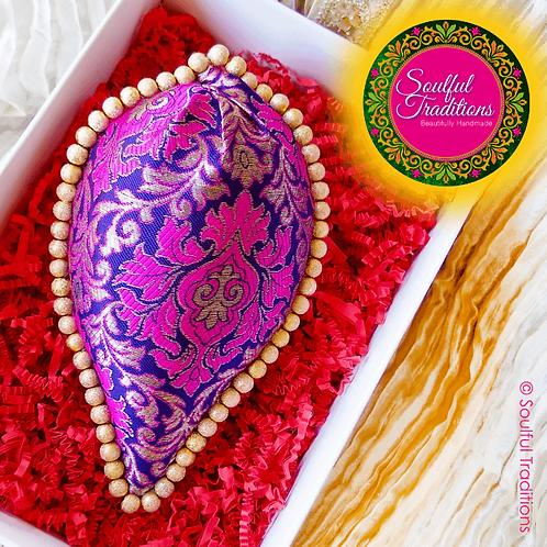 Purple and Pink Brocade Nariyal with Gold Beading