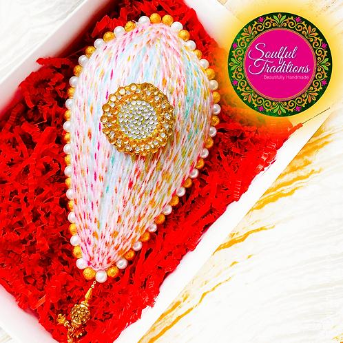 Multi Wool Pastel Nariyal with Gold and White Beading