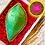 Thumbnail: Green Brocade Silk Nariyal with Blue Shimmer