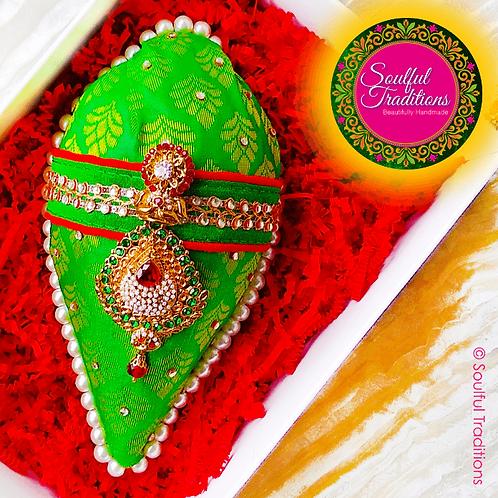 Green & Red Nariyal with Pearl Trim