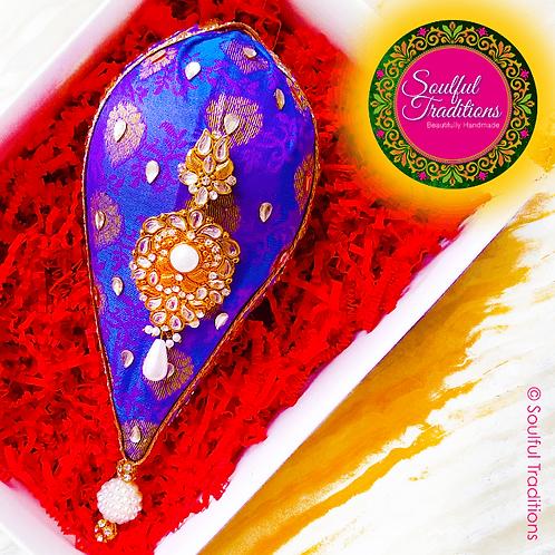 Purple and Gold Nariyal with Patta Trim