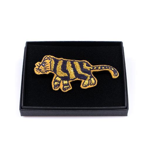 Broche tigre rayé broderie boite cadeau