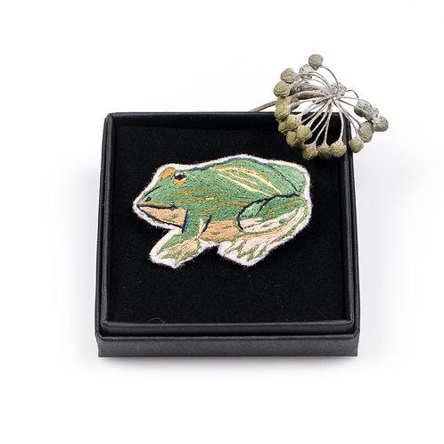 Broches brodée grenouille boite cadeau