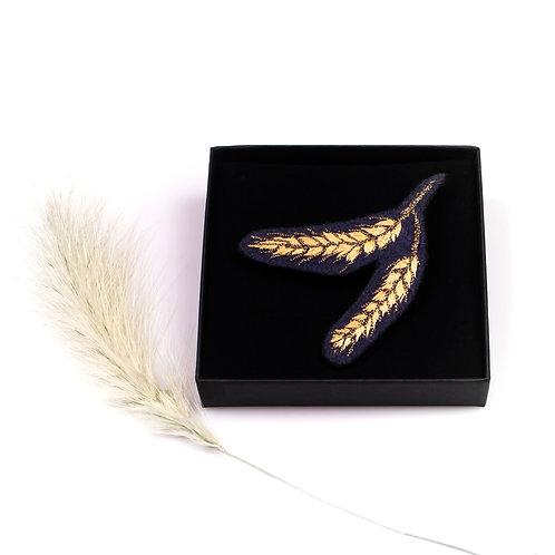 Broche blé brodée boite cadeau